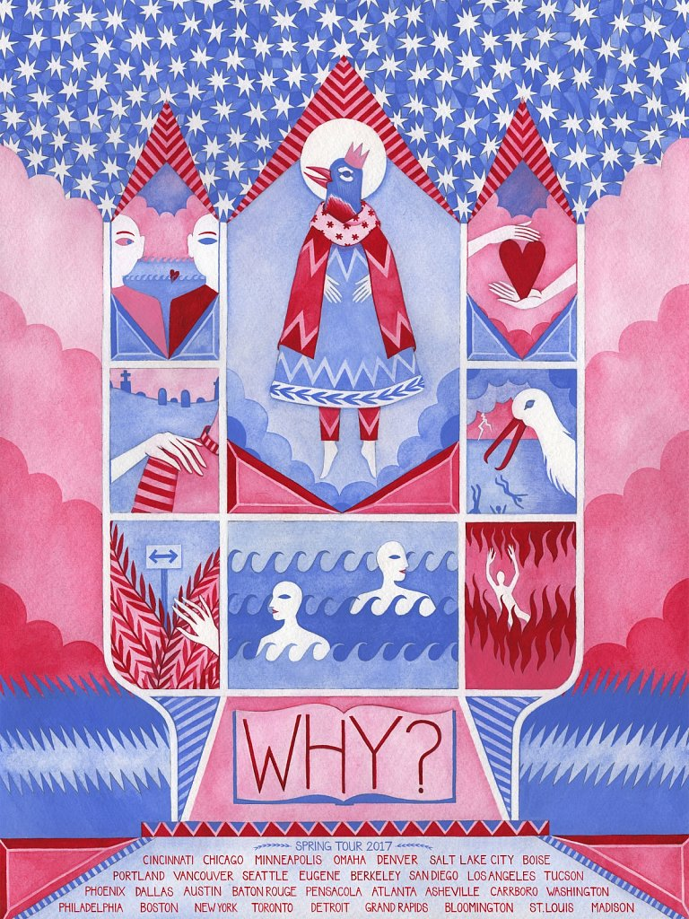 WHY? 2017 North American tour poster - www.whywithaquestionmark.com